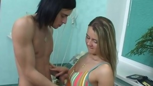 Horny blond is really approving at oral satisfying of her legal age teenager dude