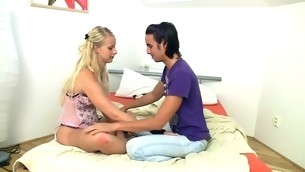 Blond slut is being pleased on the daybed here sex and oral games