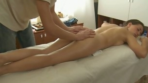 Charming masseur is plowing alluring hottie's cunt wildly